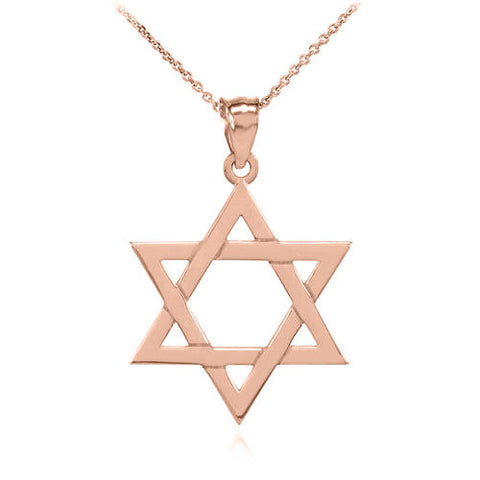 Rose Gold Jewish Star of Charm Pendant,your name necklace, macrame necklace, silver necklace, gemstone - My Boho Jewelry
