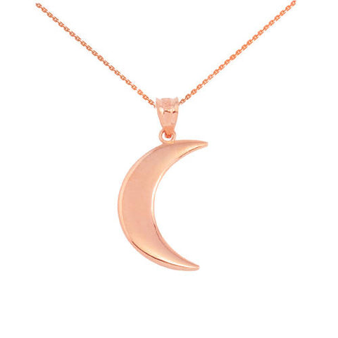 Rose Gold Crescent Moon Pendant  ,necklace, pearl necklace, rosegold, green - My Boho Jewelry