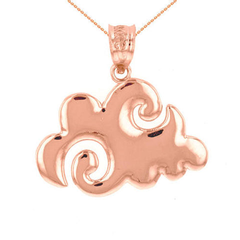 Rose Gold Swirling Cloud Pendant  ,silver necklace, gold chain, bridal necklace, bohemian - My Boho Jewelry