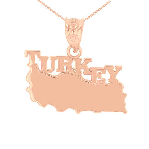 Rose Gold Turkey Necklace Turkey Country Necklace Turkey Pendant Turkey Map Necklace - My Boho Jewelry