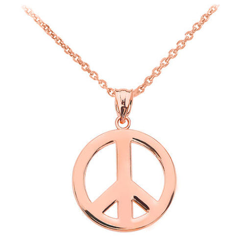 Rose Gold Boho Peace Sign Necklace ,gold necklace, necklace, gold chain, gold plated - My Boho Jewelry