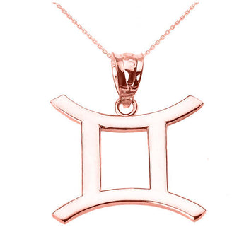 Rose Gold Gemini Necklace Red Gold Gemini Necklace June Necklace June Zodiac Pendant - My Boho Jewelry