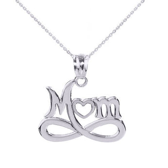 "Sterling Silver Infinity ""MOM"" Open Heart Pendant Necklace,love necklace, one pearl necklace, kids gift, gift father of - My Boho Jewelry"