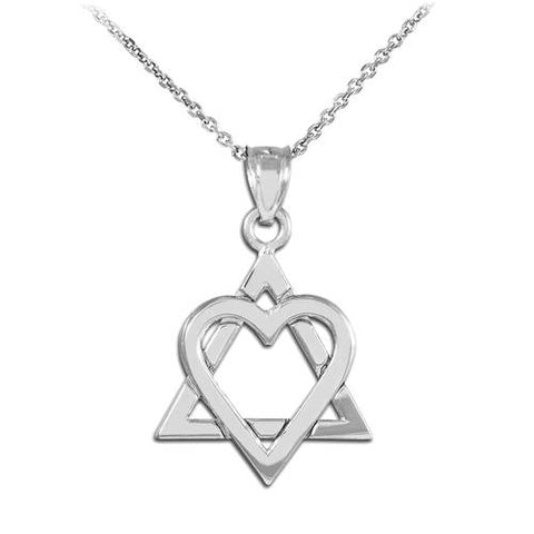 925 Sterling Silver Star of David Heart Medium,geometric necklace, silver, silver rods pendant, silver - My Boho Jewelry
