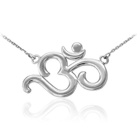 Sterling Silver Polished Om Necklace   ,chain necklace, tassel necklace, sister gift, father of bride - My Boho Jewelry