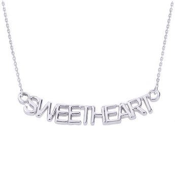 SWEETHEART Necklace Personalized Name Necklace Silver Name Pendant Sweet Heart Necklace - My Boho Jewelry