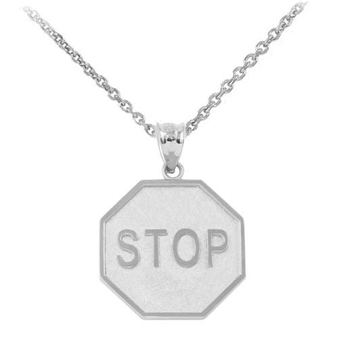 Sterling Silver Stop Sign Charm Pendant Necklace ,chain necklace, tassel necklace, sister gift, father of bride - My Boho Jewelry