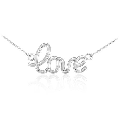 "925 Sterling Silver ""Love"" Script Necklace  ,statement necklace, necklace with clasp, oxidized silver, tiny silver - My Boho Jewelry"