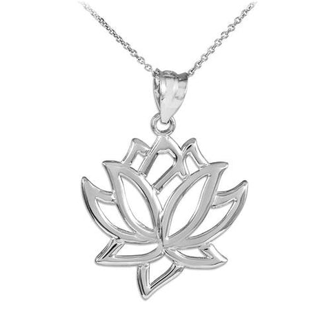 Sterling Silver Lotus Flower Necklace   ,everyday silver, silver moon pendent, black silver jewelry, boy - My Boho Jewelry