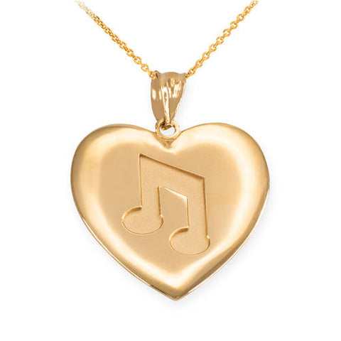 Gold Plated Heart Music Note Pendant Necklace, silver necklace, rose gold initial, droplet necklace, cream christmas - My Boho Jewelry