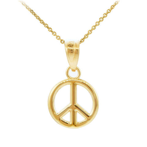 Gold Peace Symbol Charm Pendant  Necklace (S), black stone necklace, christmas photo card, kids christmas pj, christmas wall print - My Boho Jewelry