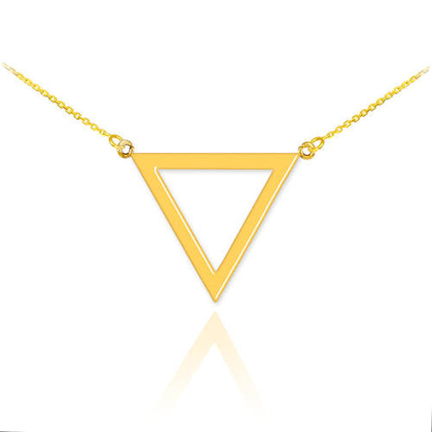 14K Gold Triangle Necklace Triangle Pendant Triangle Charm Triangle Jewelry - My Boho Jewelry
