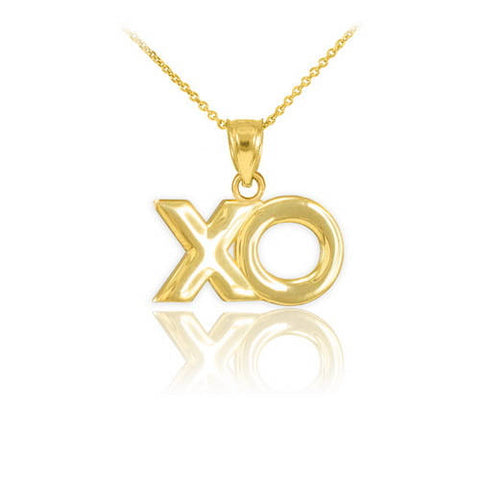"Polished Gold ""XO"" Hugs & Kisses Pendant Necklace, 14k gold , short gold necklace, large link necklace, bubble - My Boho Jewelry"