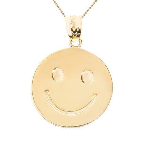 Yellow Gold Smiley Face Disc Pendant, blush pink necklace, flat chain necklaces, scorpio necklace, bulk necklaces - My Boho Jewelry