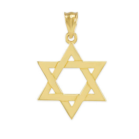 Solid Yellow Gold Jewish Star of David Pendant, collar necklace, short necklace, golden bubble, taupe christmas - My Boho Jewelry