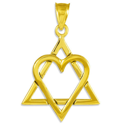 "Yellow Gold Star of David Heart Large Pendant (1.4""), dainty gold necklace, gold chain wholesale, vintage christmas, christmas wall - My Boho Jewelry"