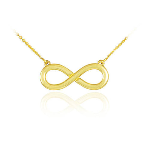 14K Polished Solid Gold Infinity Necklace Gold Infinity Sign Necklace 14k Infinity Symbol Necklace Infinity Charm - My Boho Jewelry