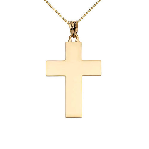 High Polish Elegant Cross Yellow Gold Pendant Necklace, gold chain, gold plated clasp, christmas family, vintage christmas - My Boho Jewelry