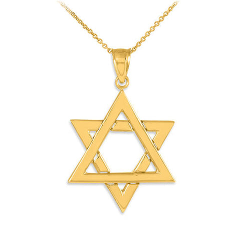 Gold Star of David Necklace 14k Gold Star Of David Pendant Gold Jewish Star Gold Magen David Necklace - My Boho Jewelry