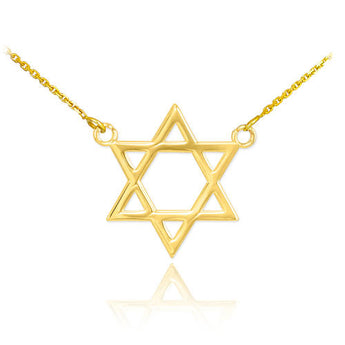 14K Gold Star of David Necklace, gold plated chain, chai necklace, short chain necklace, kids christmas pj - My Boho Jewelry