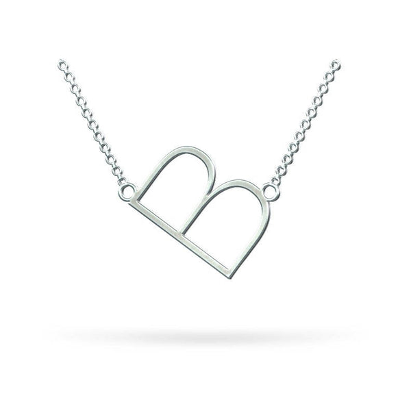 Sideways Style Initial Necklace in 925 Sterling Silver - My Boho Jewelry