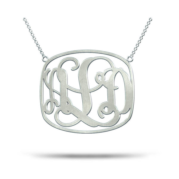 Square Monogram Necklace Silver Monogram Necklace 3 initial Monogram Necklace Modern Monogram Necklace 3 Monogram Necklace - My Boho Jewelry