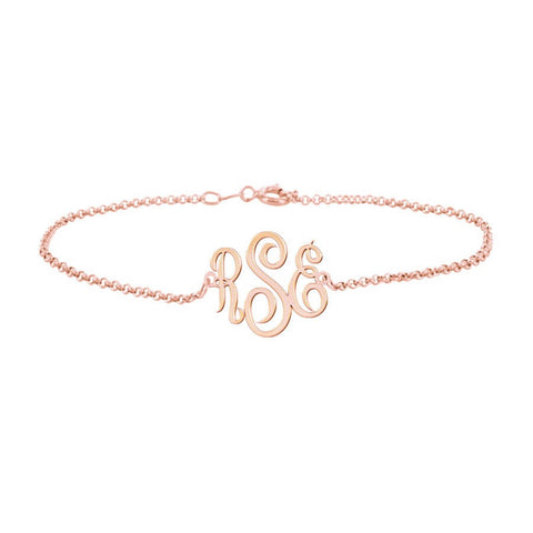 Rose Gold Monogram Anklet Rose Gold Anklet Rose Gold Name Anklet Customized Monogram Anklet - My Boho Jewelry