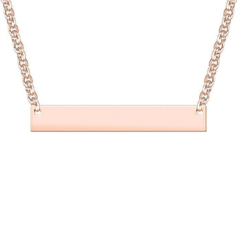Bar Engravable Necklace in 18K Rose Gold Plated - My Boho Jewelry