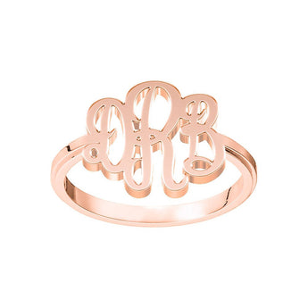 Elegance Monogram Ring in 18K Rose Gold Plating - My Boho Jewelry