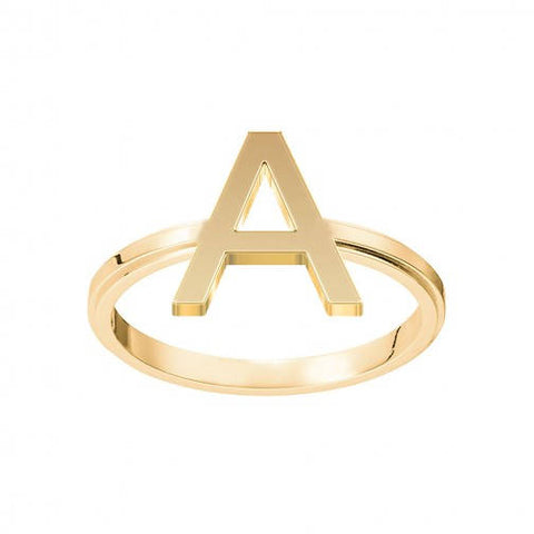 A Initial Ring A Ring Stackable Ring Name Ring Block 1 Letter Monogram Ring in 18K Yellow Gold Plated - My Boho Jewelry