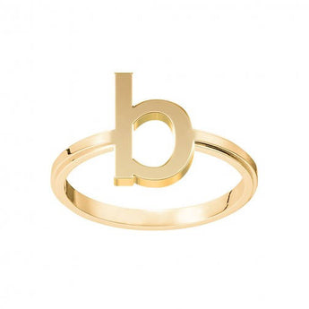 B Initial Ring B Ring Stackable Ring B Name Ring Block 1 Letter Monogram Ring in 18K Yellow Gold Plated - My Boho Jewelry
