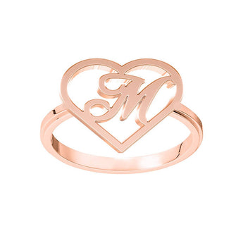 Heart Frame Script Initial Ring in 18K Rose Gold Plating - My Boho Jewelry