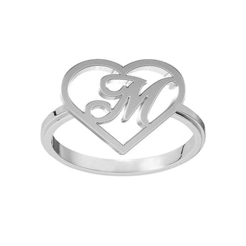 Heart Frame Script Initial Ring 925 Sterling Silver Monogram Ring Mono Gram Ring Customized Ring Personalized Christmas Gift For Her - My Boho Jewelry