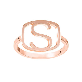 Square Frame Block Initial Ring in 18K Rose Gold Plating - My Boho Jewelry