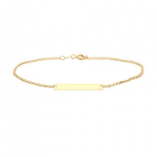 Bar Engravable Bracelet in 18K Yellow Gold Plated - My Boho Jewelry