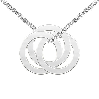 Triple Open Circle Necklace in 925 Sterling Silver Circle Mother Necklace Engraved 3 circles Mother Necklace