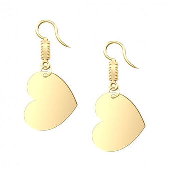 Heart Dangle Engravable Earrings in 18K Gold Plating - My Boho Jewelry