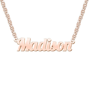 Madison Style Name Necklace in Rose Gold, name chain, name necklace, necklace with name , name pendant, name chain font, font necklace - My Boho Jewelry