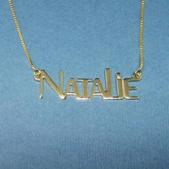 Name Chain Gold Plated Name Plate Necklace Natalie Necklace Natalie Name Necklace - Choose Any Name