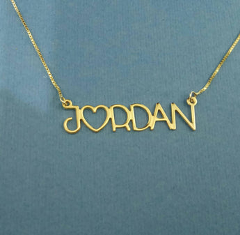 Name Gold Chain 14 k Name Necklace Heart Necklace With Name Gold Name Jewelry Design