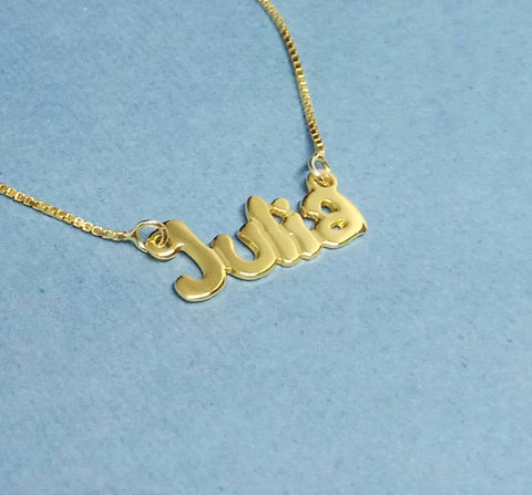 14k Gold Name Pendant Necklace 70's Necklace The 70's Show Necklace Retro Necklace Retro Name Necklace - My Boho Jewelry