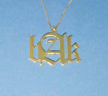 3 Initials necklace old english initial necklace 3 initials monogram necklace old english name necklace gothic monogram necklace - My Boho Jewelry