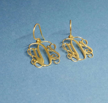 14k Gold Monogram Earrings Monogram Dangle Earrings Monogram Real Gold Monogram Errings For Women Monogrammed Earrings Gold - My Boho Jewelry