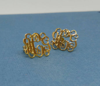 14k Gold Stud Earrings For Women Monogram Stud Earrings Monogram Earrings Women Stud Earrings - My Boho Jewelry