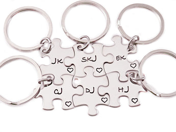 Best friends Keychains - Six Puzzle Piece Keychains - Sterling Silver Engraved Puzzle Piece Key Chain - My Boho Jewelry
