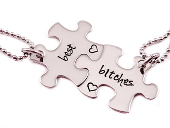 Sterling Silver Puzzle Piece Necklace Set- 2 Puzzle Pieces - My Boho Jewelry