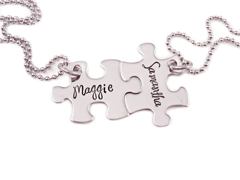 Personalized Mini Puzzle Piece Necklace Set- 2 Puzzle Pieces - Engraved Puzzle Piece Necklaces Set of 2 - Best Friends - Sisters - D/c - My Boho Jewelry