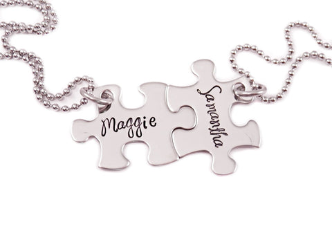 Personalized Mini Puzzle Piece Necklace Set- 2 Puzzle Pieces - Engraved Puzzle Piece Necklaces Set of 2 - Name - Friendship - Sisters - 1220 - My Boho Jewelry