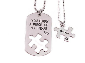 You Carry A Piece Of My Heart - Couple Necklace Set of 2 - Engraved Steel - Dog Tag and Puzzle Necklaces -Anniversary - Couple - 1177 - My Boho Jewelry