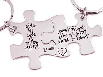 Side By Side Or Miles Apart Puzzle Piece Key Chain Set of 2 - Engraved Stainless Steel - Best Friends Key Chain - Friends Puzzle Set - 1063 - My Boho Jewelry